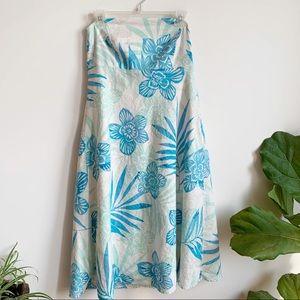 GAP Strapless Midi Dress Floral Print Linen Blend